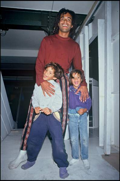 Yannick Noah avec son fils Joakim et sa fille Yelena