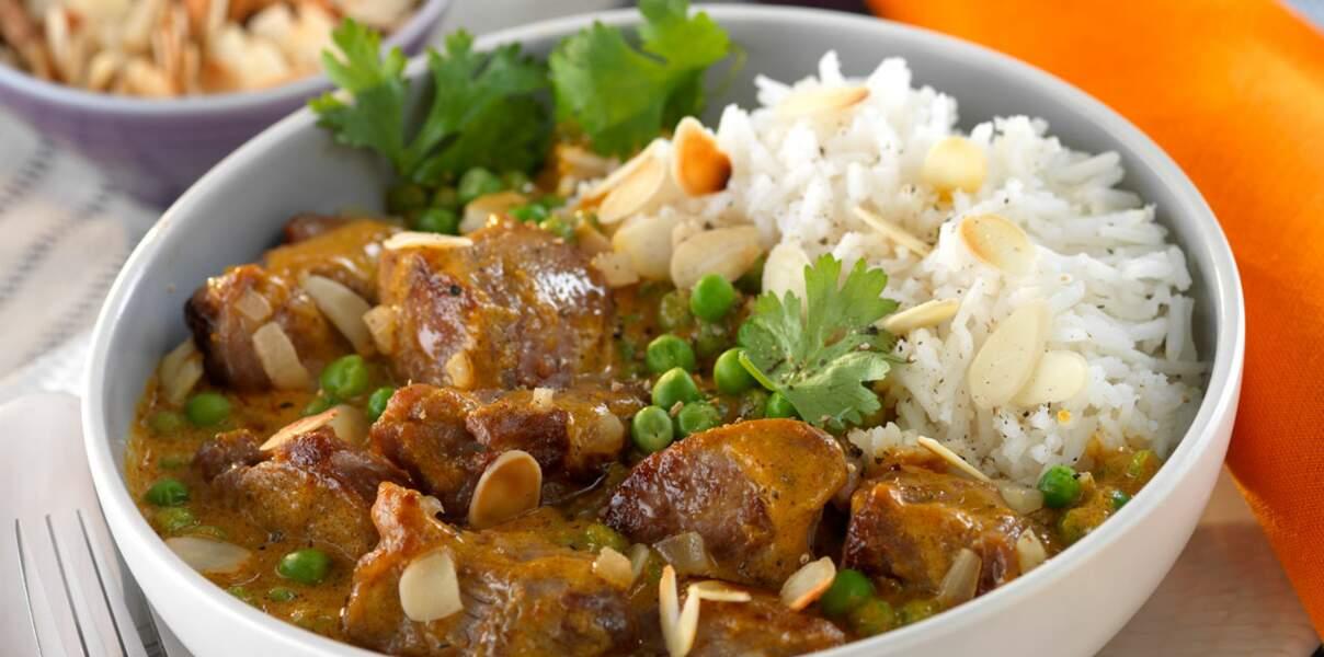 Curry d'agneau aux amandes grillées