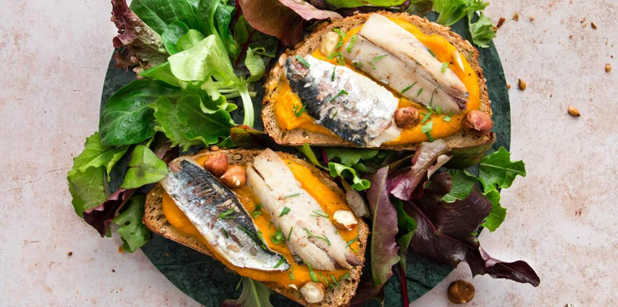 Bruschettas de filets de sardines & purée de courge