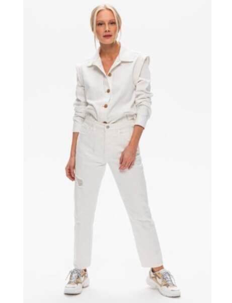La veste en jean blanche