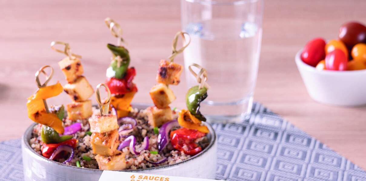 Brochettes de légumes grillés et tofu