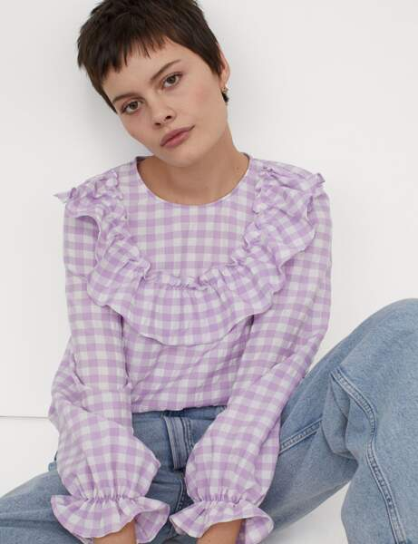 Imprimé carreaux : la blouse à frou-frou