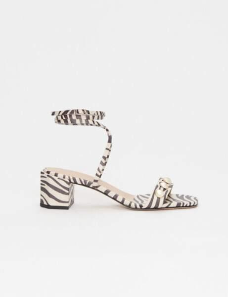 Chaussures tendance : les sandales imprimé zèbre