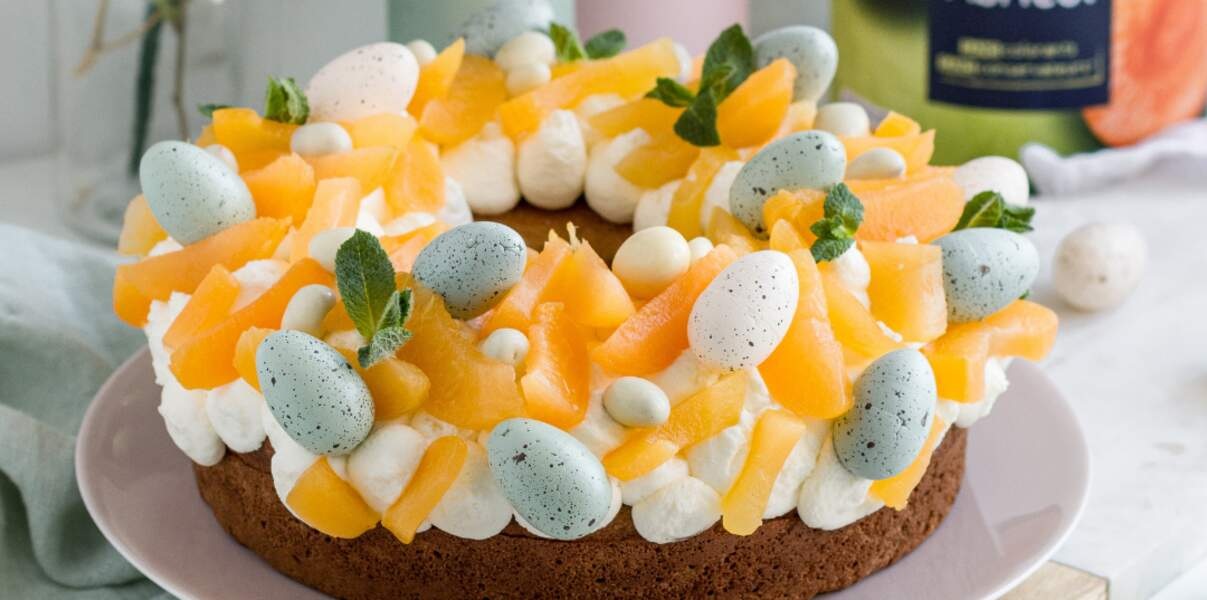 Couronne de Pâques aux abricots et sa chantilly coco