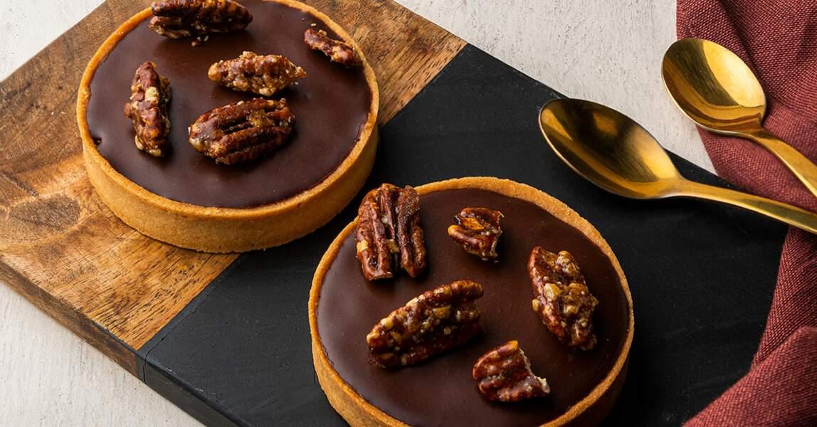 Tarte chocolat, noix de Pécan, par David Gallienne et Nespresso
