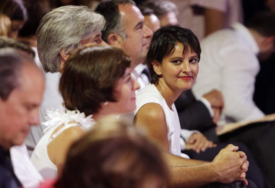 """Najat Vallaud-Belkacem lors du meeting de rentrée du gouvernement socialiste """"L'essentiel c'est la République"""", à Colomiers, près de Toulouse, le 29 août 2016."""