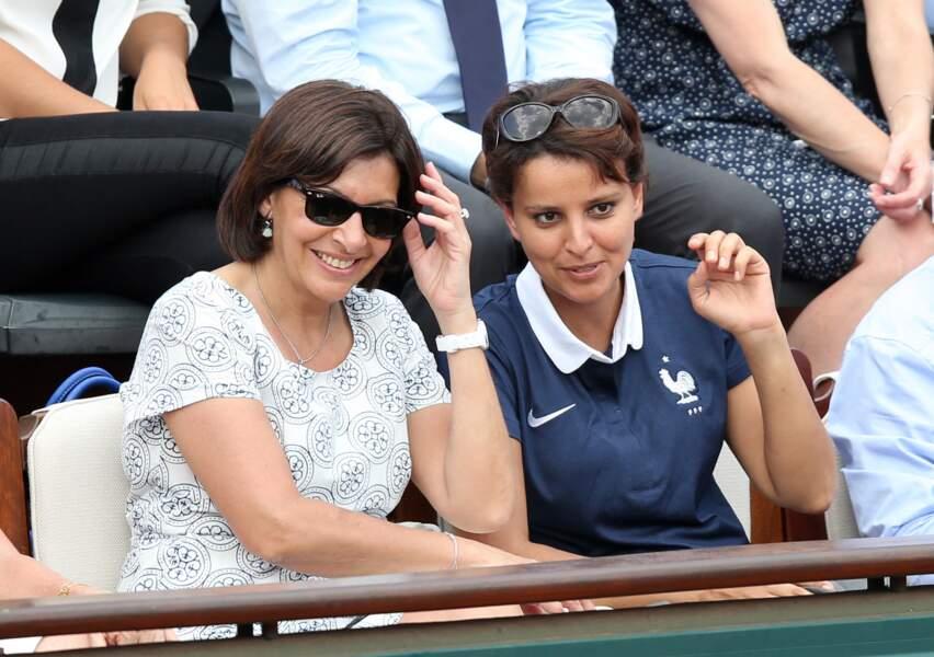 Anne Hidalgo et Najat Vallaud-Belkacem assistent à la finale dame des Internationaux de France de tennis de Roland Garros, à Paris, le 7 juin 2014.