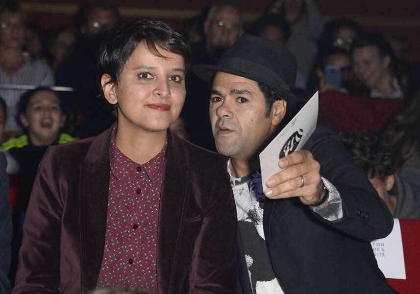Najat Vallaud-Belkacem et Jamel Debbouze à la finale du Trophée d'Impro Culture & Diversité, au Théâtre Comédia, à Paris, le 23 mai 2016.
