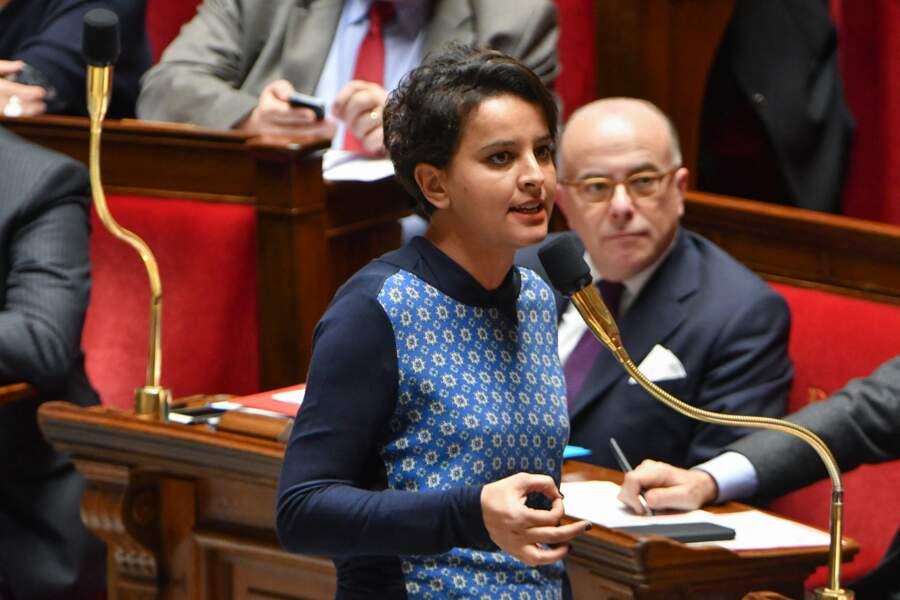 Najat Vallaud-Belkacem, ministre de l'Éducation nationale, de l'Enseignement supérieur et de la Recherche, lors de la séance des questions au gouvernement à l'Assemblée Nationale, à Paris, le 7 février 2017.