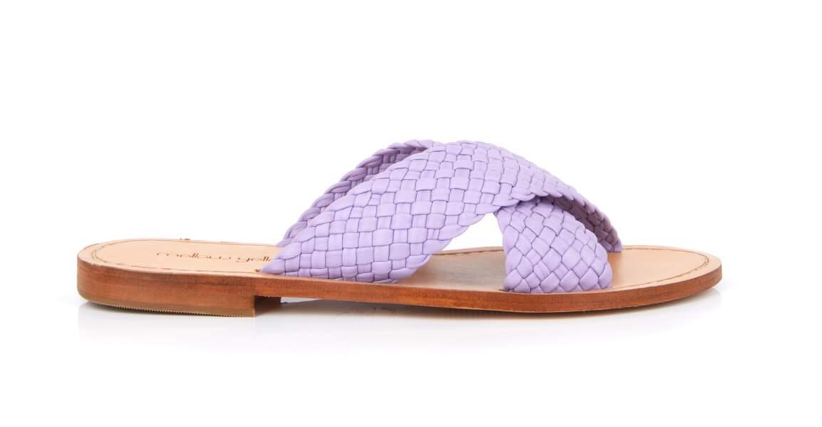 Mauve tendance : des sandales tressées