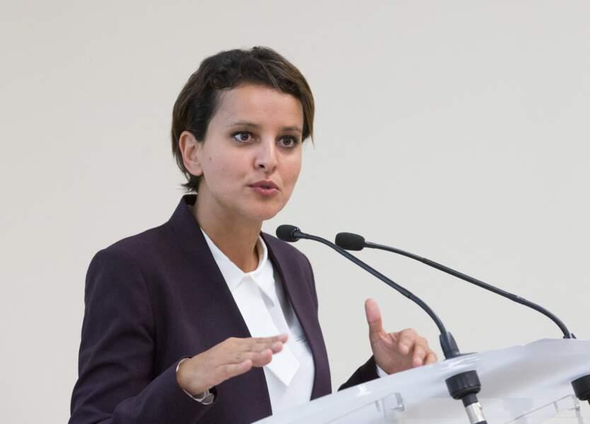 Najat Vallaud-Belkacem, ministre de l'Éducation nationale et de l'Enseignement supérieur,  participe à la visite inaugurale de Lyon Sud, extension de la faculté de médecine et de maïeutique, à Lyon, le 10 Octobre 2014.