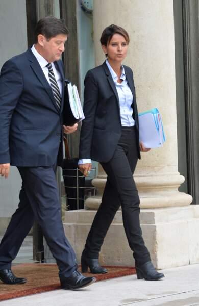 Patrick Kanner, ministre de la Ville, de la Jeunesse et des Sports et Najat Vallaud-Belkacem, nouvelle ministre de l'Éducation nationale, de l'Enseignement supérieur et de la Recherche, lors de la sortie du conseil des ministres du nouveau gouvernement de Manuel Valls, à l'Elysée, le 27 août 2014.