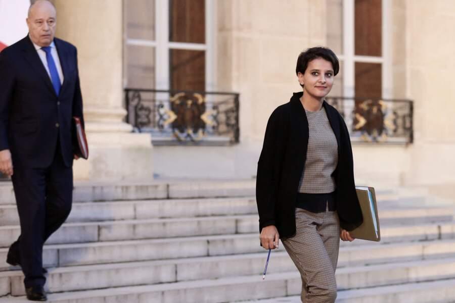 Jean-Michel Baylet et Najat Vallaud-Belkacem à la sortie du conseil des ministres du 18 novembre 2016, au palais de l'Elysée.