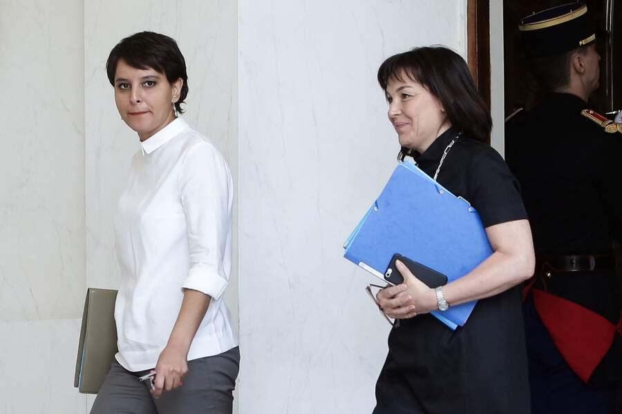 Najat Vallaud Belkacem à la sortie du conseil des ministres du mercredi 8 juin 2016, au palais de l'Elysée.
