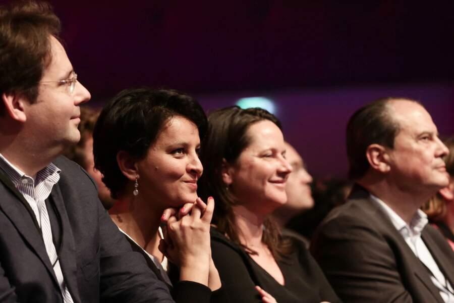 Matthias Fekl, Najat Vallaud-Belkacem, Johanna Rolland et Jean-Christophe Cambadelis à la clôture du 78 ème Congrès du parti Socialiste, à Aubervilliers, le 8 avril 2018.