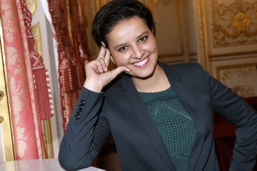 Séance photo pour Najat Vallaud-Belkacem à Paris, le 4 mars 2017.