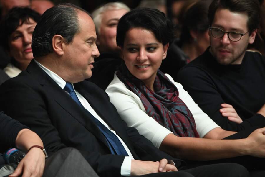 Jean-Christophe Cambadélis et Najat Vallaud-Belkacem à la Convention d'investiture de Benoît Hamon, candidat du Parti Socialiste  à l'élection présidentielle, à la Mutualité à Paris, le 5 février 2017.