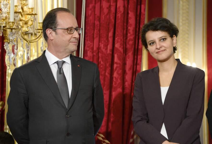 François Hollande et Najat Vallaud-Belkacem lors de la cérémonie de remise du prix de l'Audace artistique et culturelle au palais de l'Elysée, à Paris, le 5 juin 2015.