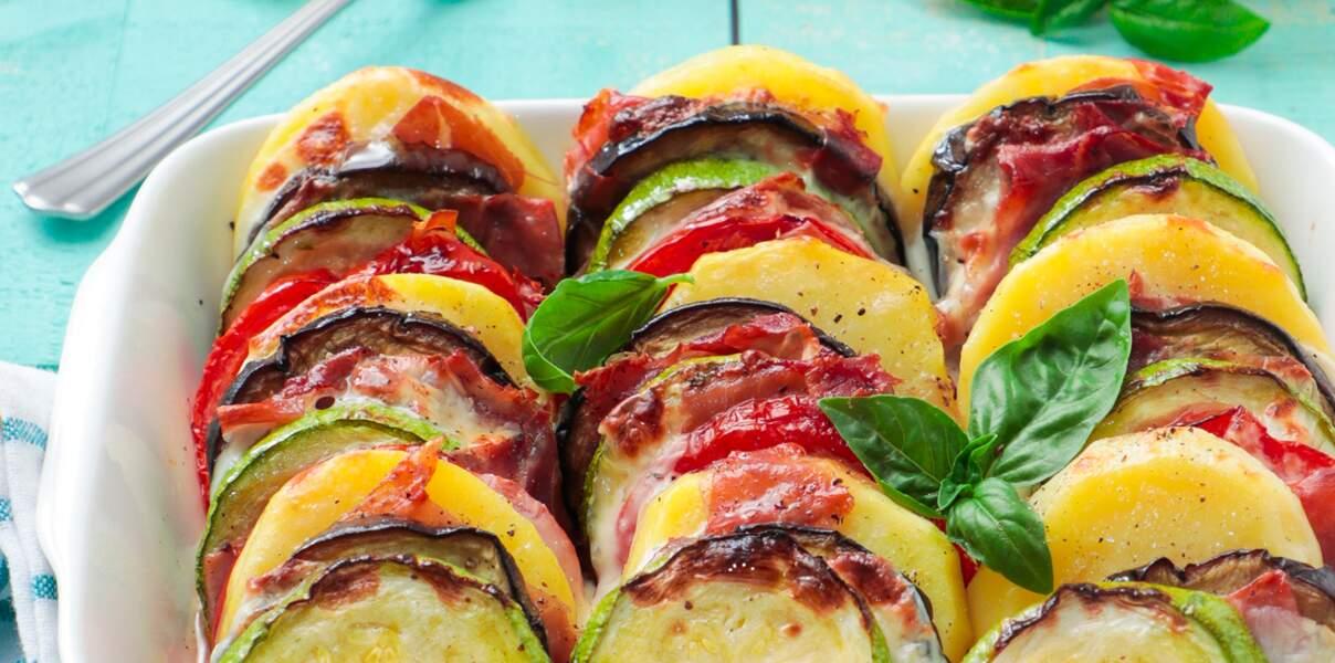 Gratin de légumes au jambon de Parme