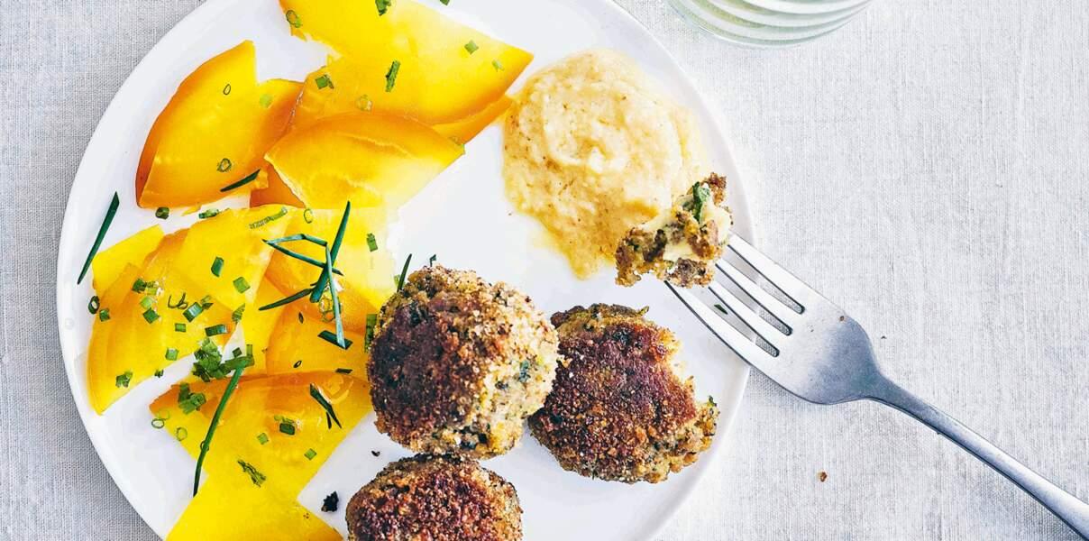 Boulettes de thon façon croquettes & condiment au citron