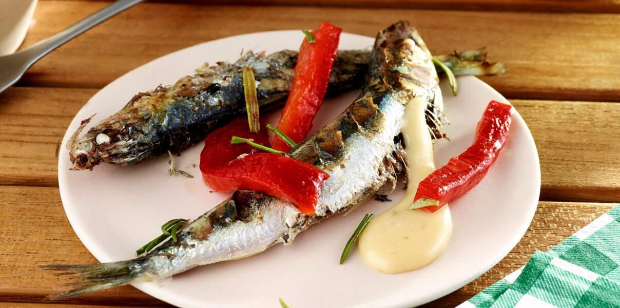 Sardines grillées au poivron et romarin, sauce Chaource