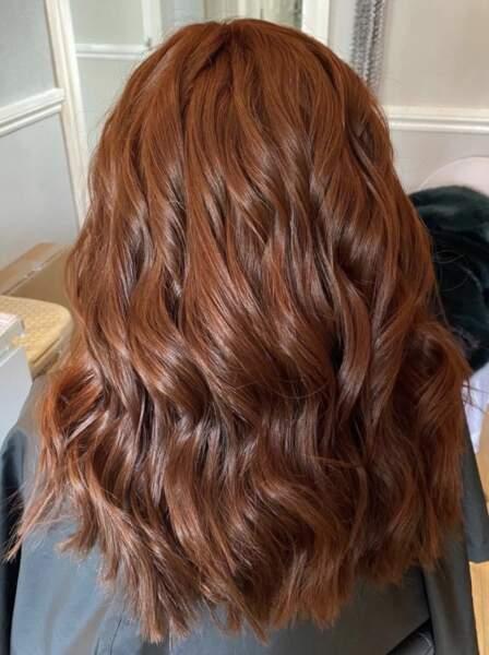 Wavy hair auburn
