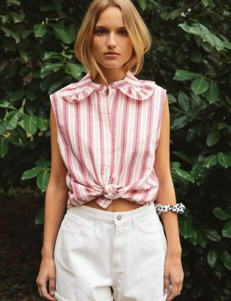Tendance lin : la chemise col claudine