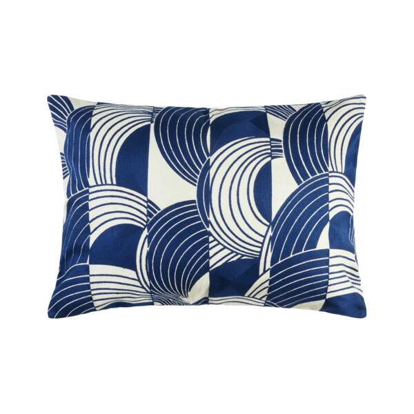 Taie d'oreiller bleue et blanche - Cfoc