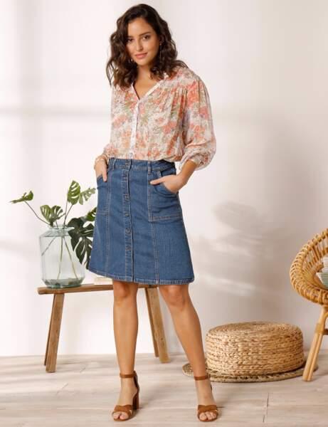 Mode 50 ans et plus : une jupe en jean