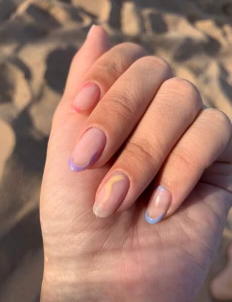 Un nail art pastel