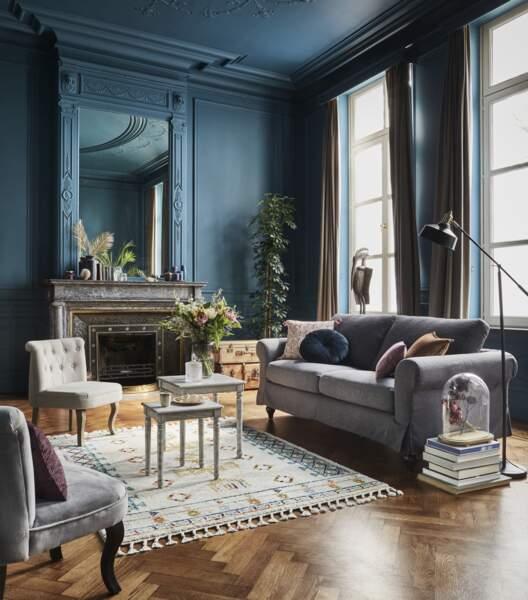 Salon au style victorien bleu/gris - BUT