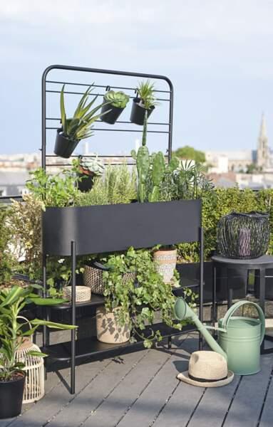Jardinière d'extérieur en métal noir - Maison du monde