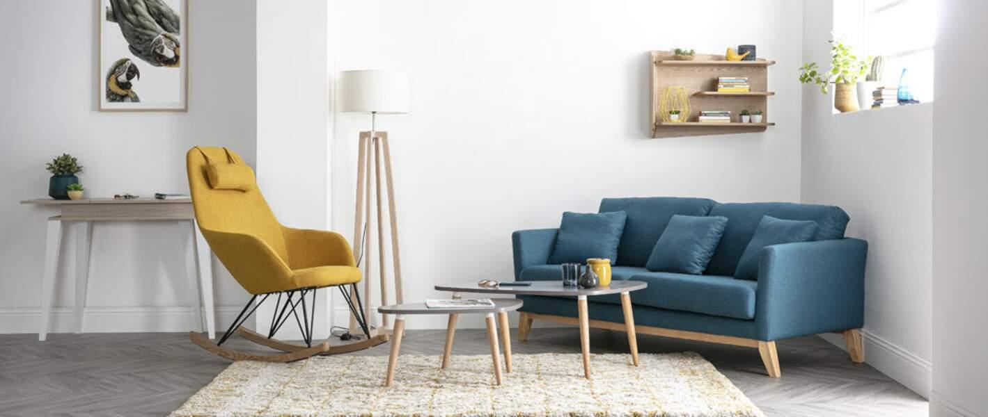 Salon bleu minimaliste - Miliboo