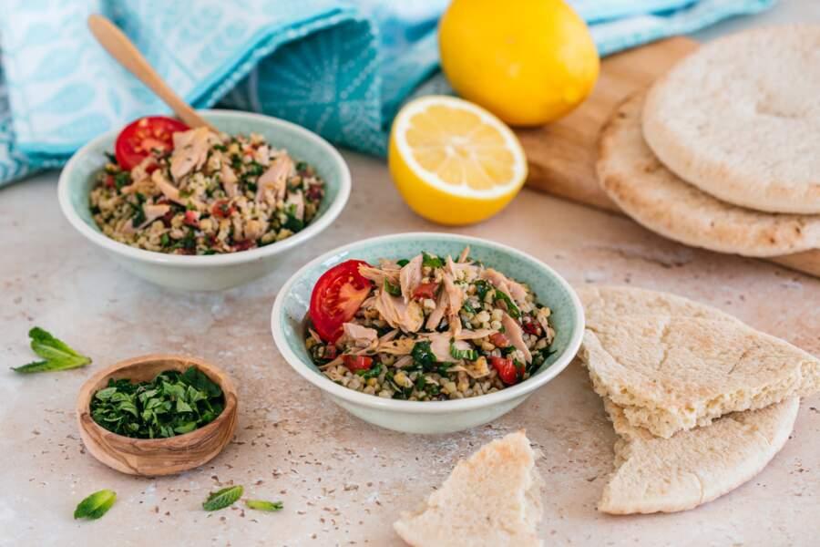 Taboulé à la libanaise et filets de thon à l'huile d'olive