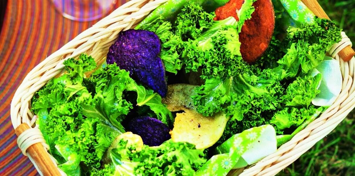Chips de chou kale et de betterave