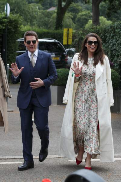 Tom Cruise et Hayley Atwell arrivent au All England Lawn Tennis and Croquet Club, à Londres,  le 10 juillet 2021.