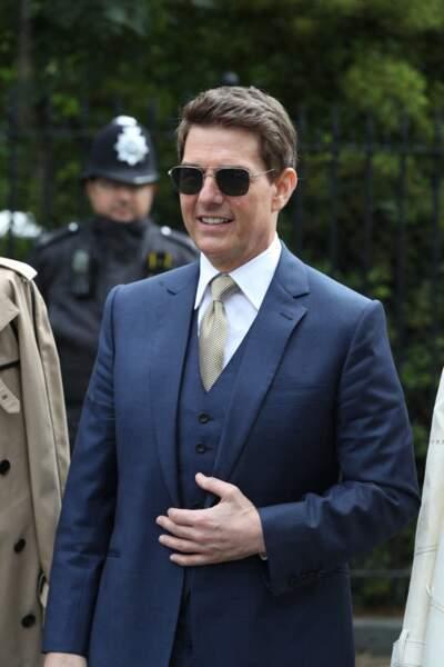 Tom Cruise à son arrivée au tournoi de tennis de Wimbledon, au All England Lawn Tennis and Croquet Club, à Londres, le 10 juillet 2021.