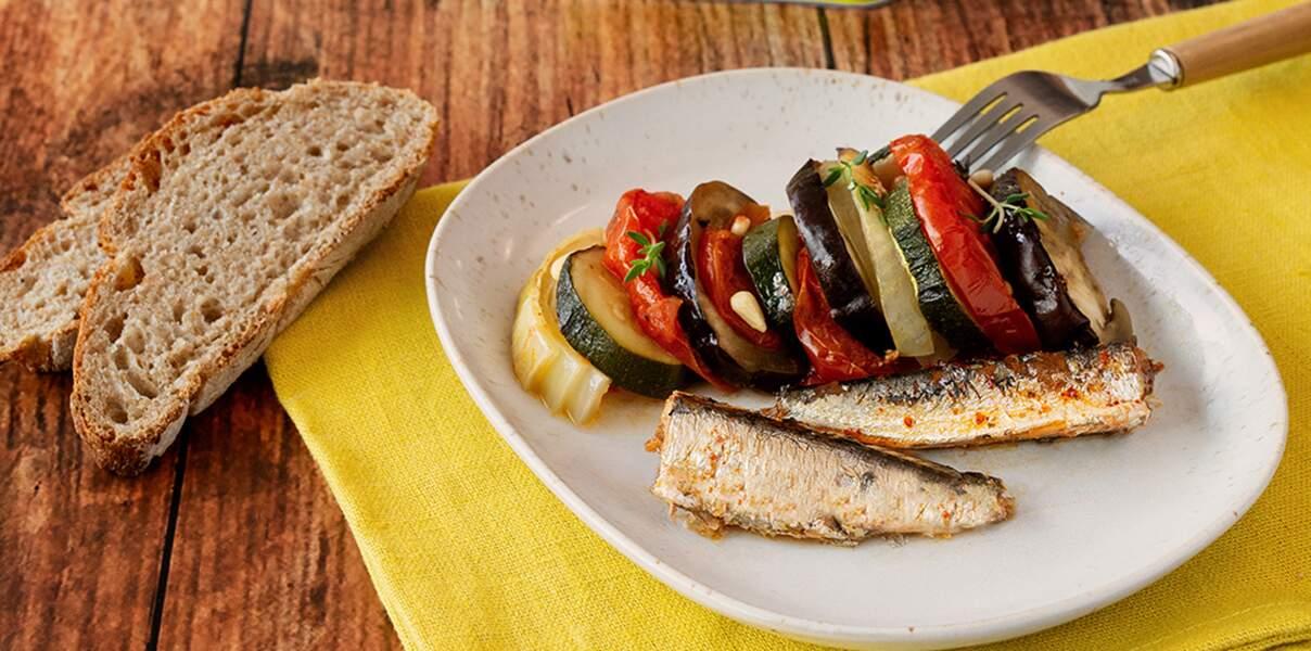 Tian de tomate, courgette, aubergine et sardines