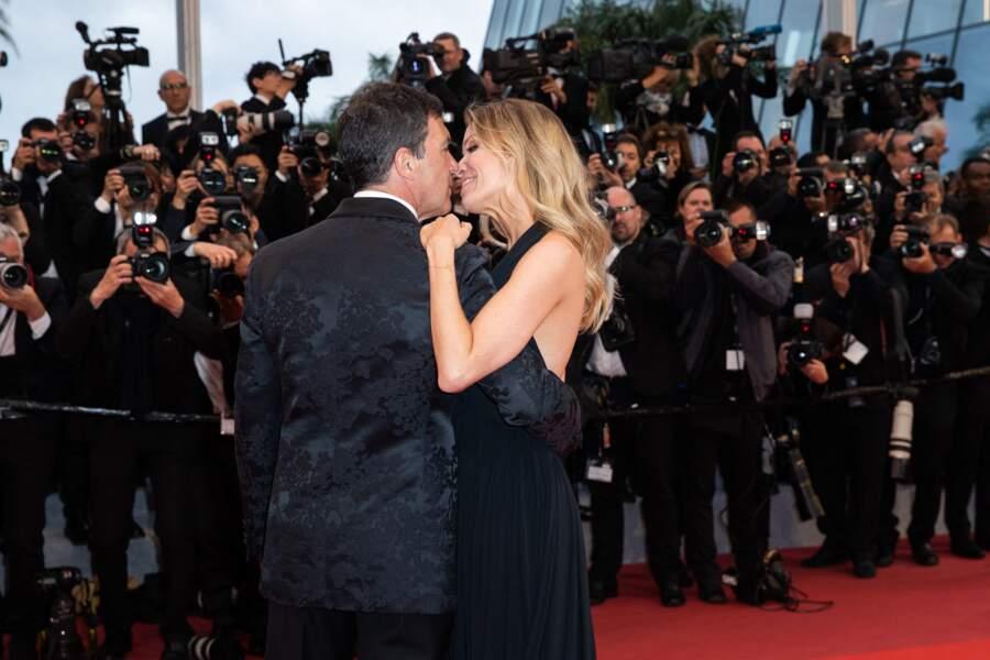 """... Antonio Banderas et sa compagne Nicole Kimpel sur le tapis rouge pour le film """"Douleur et Gloire""""..."""