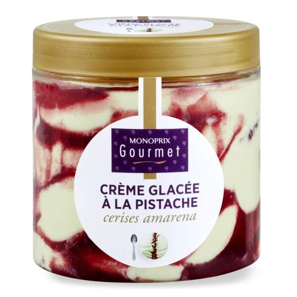 Crème glacée à la pistache et aux cerises amarena - Monoprix Gourmet