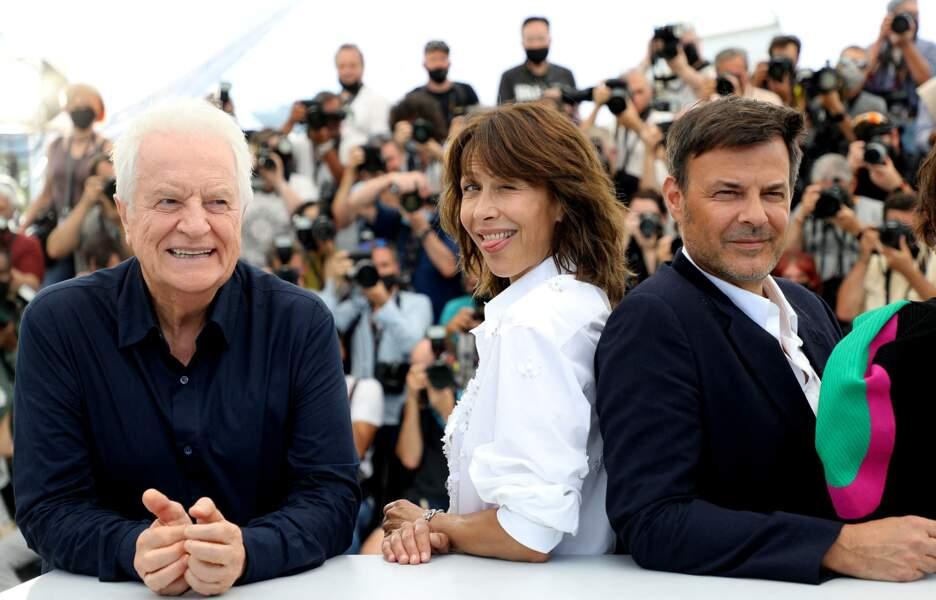 """André Dussollier, Sophie Marceau, François Ozon et Géraldine Pailhas au photocall du film """"Tout s'est bien passé"""""""
