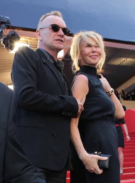 """Sting et sa femme Trudie Styler, sur les marches du Palais des Festivals de Cannes, pour le film """"Mud"""", le 26 mai 2012."""