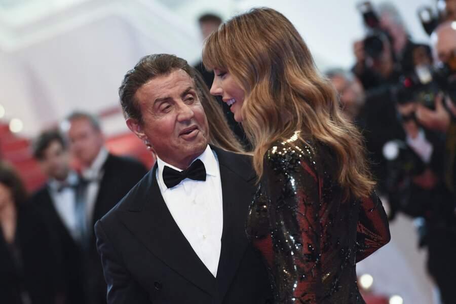 """Sylvester Stallone et sa femme Jennifer Flavin à la première de """"Rambo: First Blood (remasterisé)"""", lors du 72e Festival International du Film de Cannes, le 24 mai 2019."""