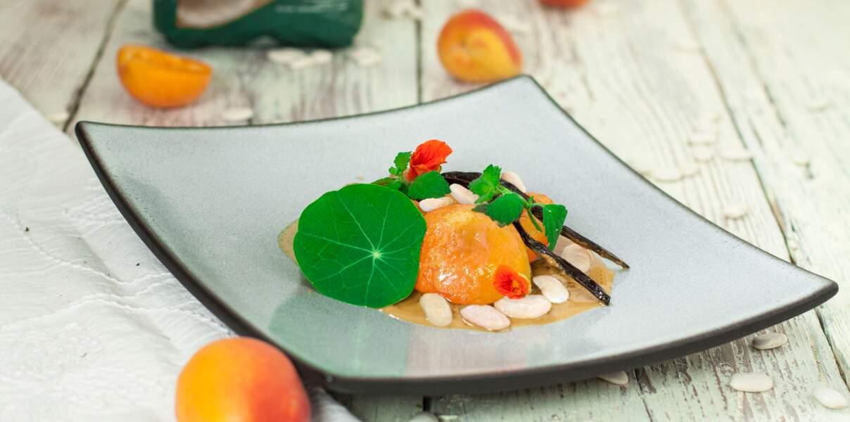 Abricots rôtis au caramel de haricots tarbais