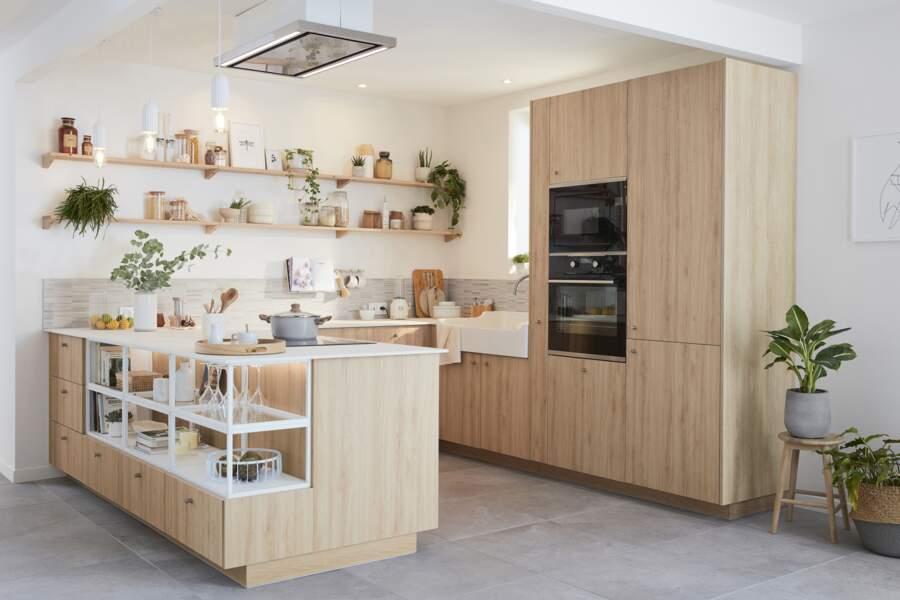 Cuisine en bois naturel - Leroy Merlin