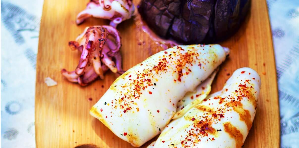 Calamars et aubergine confite