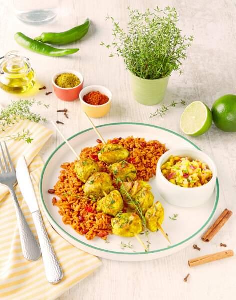 Brochettes de poulet façon créole et rougail de mangue