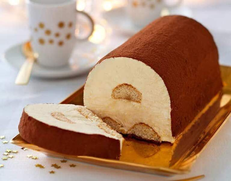Bûche tiramisu glacée au chocolat et café
