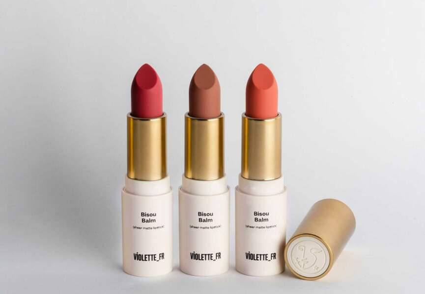 Le rouge à lèvres bisou balm Violette fr
