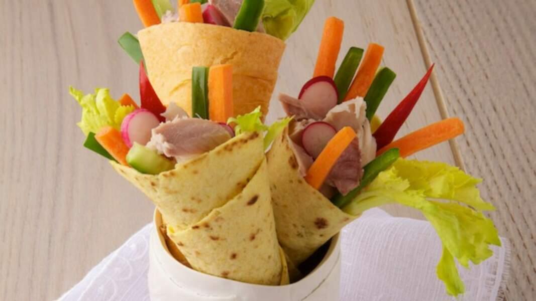 Wrap de légumes d'été au thon